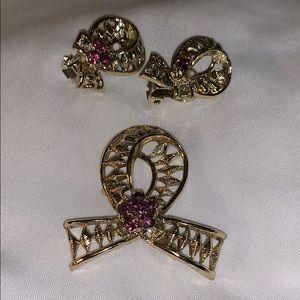 🔥***Vintage Ribbon Brooch and Earrings Set***🔥